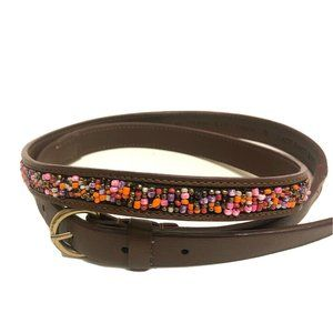 LOFT Brown Beaded Belt Gold Buckle Size Small